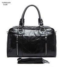 YUPINXUAN Mens Real Leather Briefcase Big Capacity Leather Laptop Messenger Bags Big Travelling Tote Multifunctional Handbag