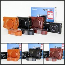 Classic Digicam Case Pu Leather-based Digicam Bag For Canon Powershot s110 S120 With Strap Black Espresso Brown