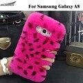 Artesanal de pele de coelho moda case capas de cristal diy telefone móvel tampa do telefone diy diamante suave back case para samsung galaxy A8