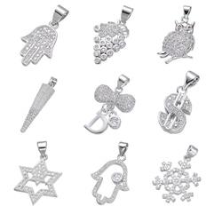 Juya Handicraft Jewelry Material Hand made Cz Pave Hamsa Charms Pendant For Women Kids Christmas Gift Jewelry Making