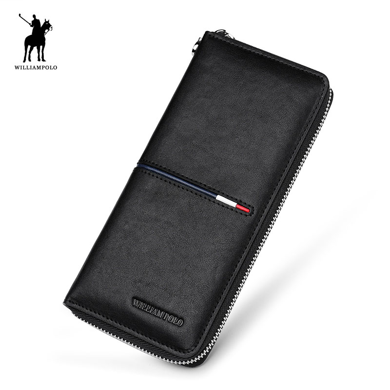 Men Long Black Genuine Leather Clutch Wallet WILLIAMPOLO Fashion Zipper Phone Credit Card Holder Purse Brand Business Men's Gift men s purse long genuine leather clutch wallet travel passport holder id card bag fashion male phone business handbag