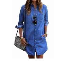Women Blue Denim Shirt Dress Plus Size Long Sleeve T Mini Dresses Oversized Vestidos S-5XL