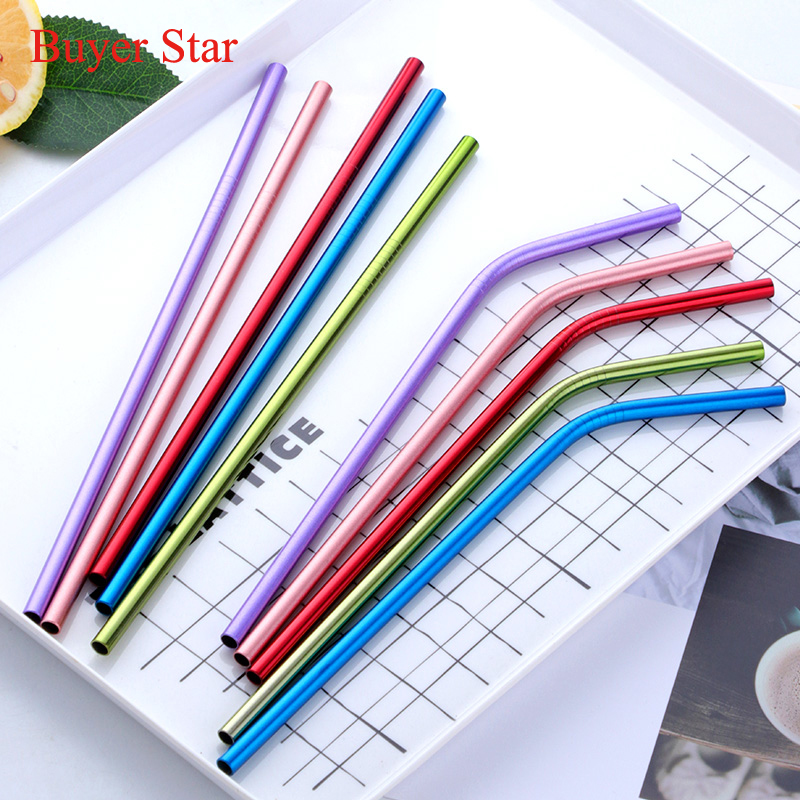 100pcs Reusable Metal Drinking Straws with 20pcs Cleaning Brush 304 Stainless Steel Sturdy Bent Straight Drinks