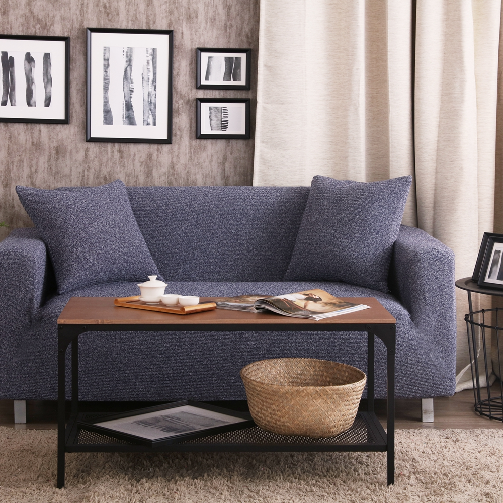 Blue Knitted Fabric Corner Sofa Cover For Living Room 100