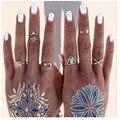 2016 nova Bohemia moda anel 7 pçs/set moda Gypsy charme jóias maxi anel para as mulheres