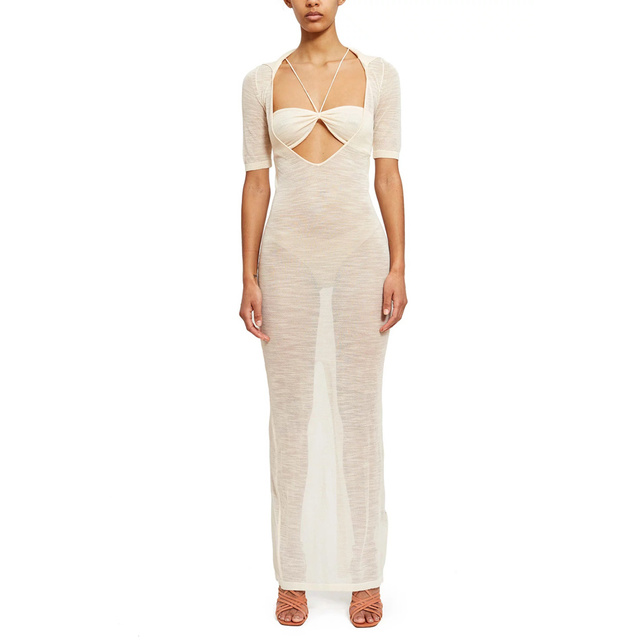 Chic Kylie Jenner Opening Ceremony La Piana Long Dress Sexy White Bandeau See Through Cut Out Keyhole Transparent Slit Maxi Gown 1