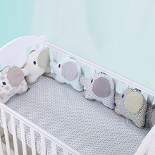 6pcs Elephant Baby Bed Bumper Combination Backrest Cushion Flexible Combination Bed Bumper Comfortable Protect the Baby