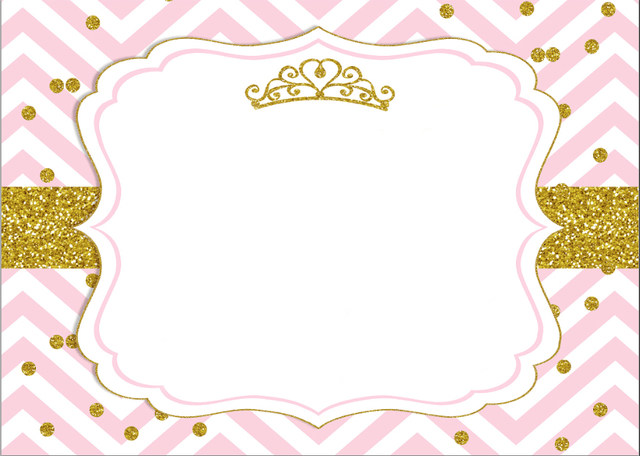 7x5FT Pink Chevron Gold Coins Crown Baby Shower Custom Photo Studio  Backdrop Background Vinyl 220cm X 150cm