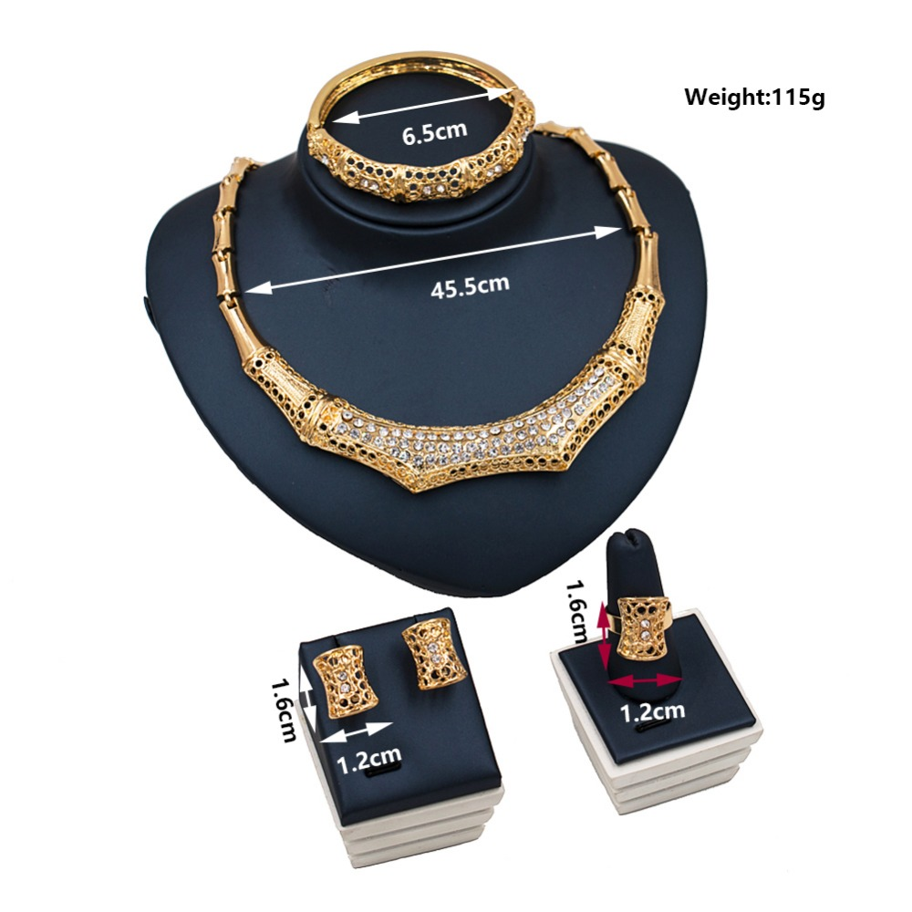 LAN PALACE cheap african jewelry sets ausrtrian crystal gold color jewelry necklace stud earring ring bracelets free shipping