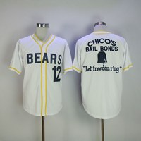 Stitched Bad News Bears Movie 1976 Chico S Bail Bonds WHITE Men Baseball Jersey 3 Kelly