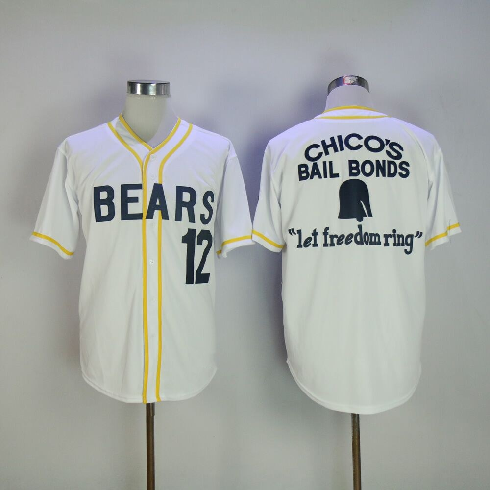 Stitched Bad News Bears Movie 1976 Chico's Bail Bonds WHITE Men Baseball Jersey 3 Kelly Leak 12 Tanner Boyle Jerseys Viva Villa brand baseball jerseys 28 s xx coolbase