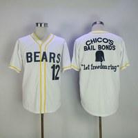 Stitched Bad News Bears Movie 1976 Chico S Bail Bonds WHITE Men Baseball Jersey 3 Kelly
