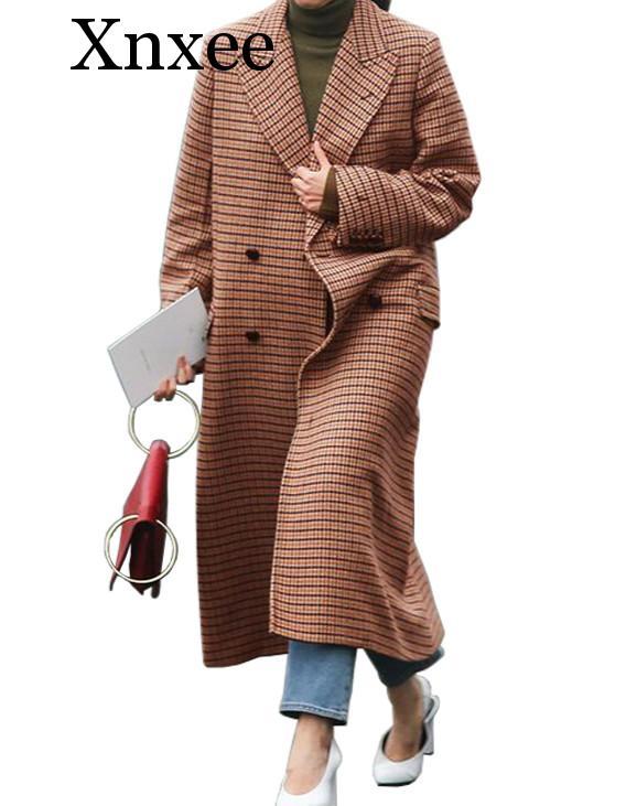 Xnxee Brown Plaid Thickening Keep Warm Wool Super Long Coats 2019 Winter Women Clothing