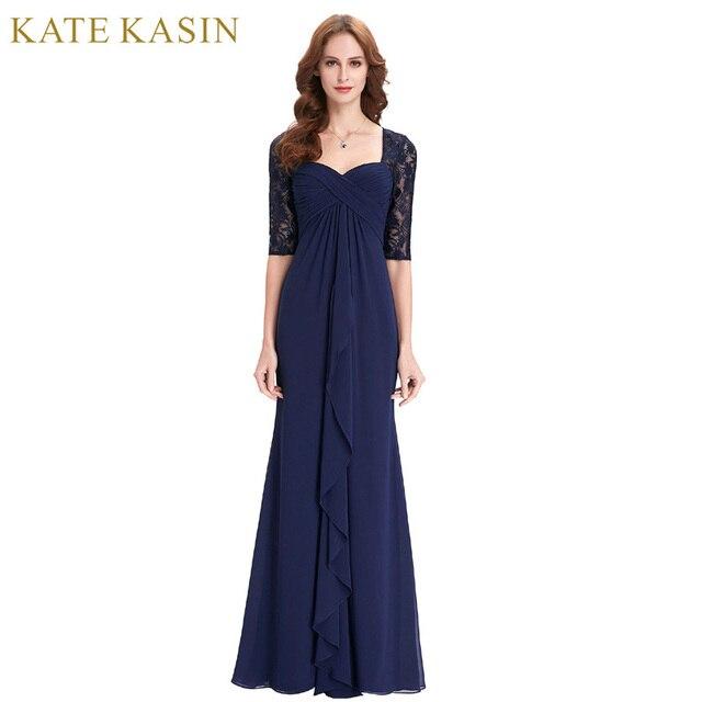 Настоящая фотография Половина рукава вечернее платье 2017 оборками шифон Мамам молодожёнов Темно-синие длинное платье вечерние платья 0136
