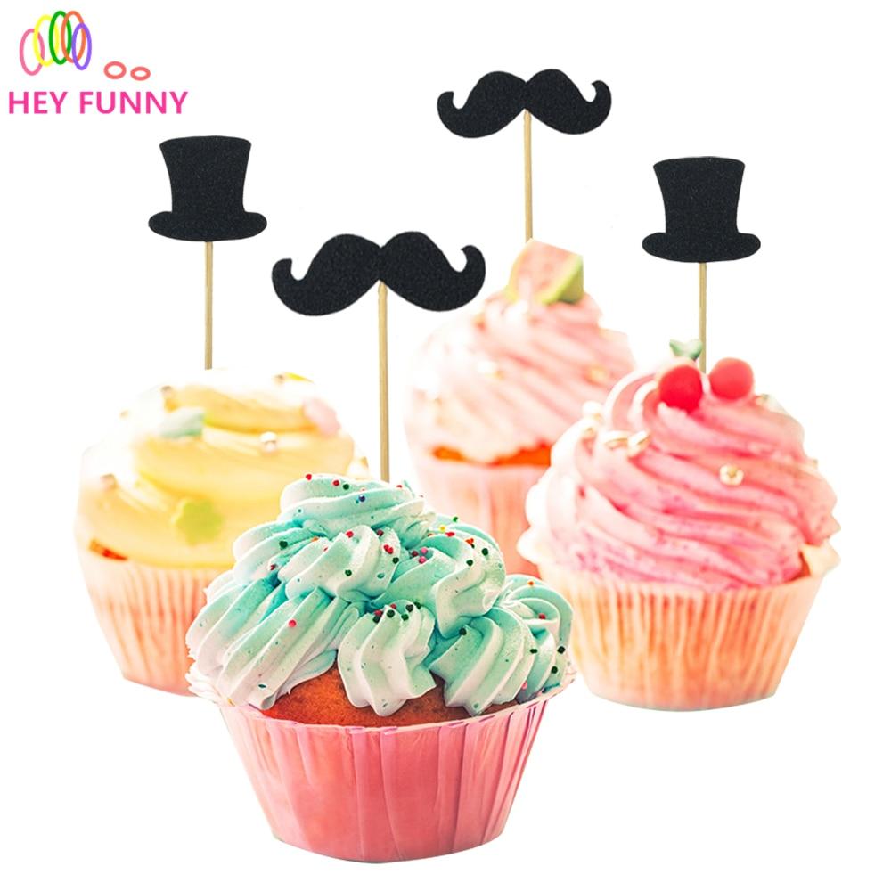 HEY FUNNY 20 pcs/lot Mr Tie gentleman Hat Cake Topper Black Dress Cupcake Topper Hat Cake Flag Picks Stand Wedding Cake Decor