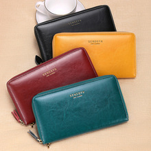 Women's new leather long zipper large capacity clutch bag Europe and the United States retro multi-card wallet недорого