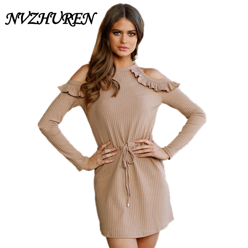 NVZHUREN Sexy Hollow Out Knitted Ruffles Sweater Dress Lace Up Bow Short Mini Women Autumn Winter