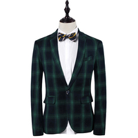 2017 New Arrival Cloudstyle Mens Plaid Suit Jacket For Men Gentlemen Style Wedding Groom Classic