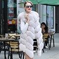Real Fox Fur Vests Coat Woman Full Pelt Thick Warm Real Fur Vest Women`s Winter Jacket Solid Real Fox Fur Long Women`s Vest