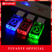 YUFANYF 2017 pendrive 3 colors Red / blue / green LED Mazda car LOGO USB falsh drive 4GB 8GB 16GB 32GB U Disk crystal gift