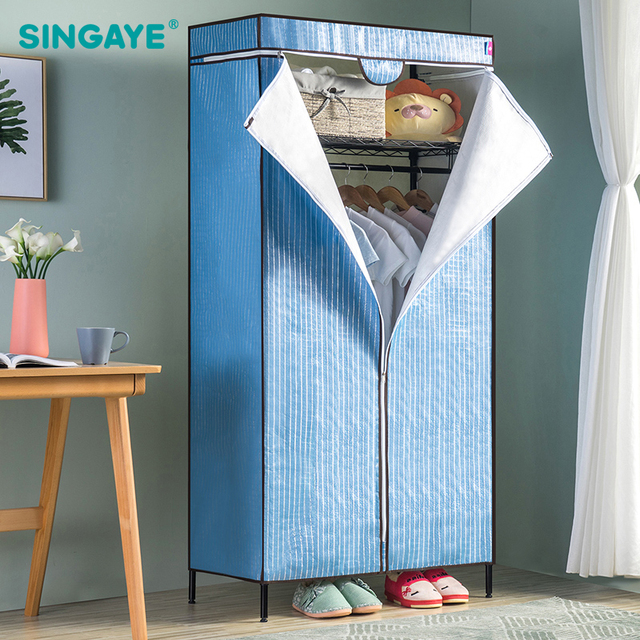 singaye diy simple modern wardrobe carbon steel clothe storage cabinets folding non woven closet furniture - Modern Wardrobe