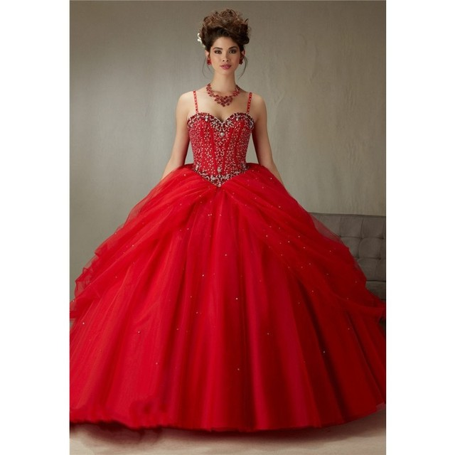 New Arrive Ball Gown Red Quinceanera Dresses Beading Sweetheart ...