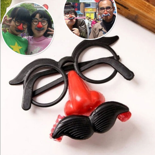 Funny Clown Glasses Costume Ball Round Frame Red Nose Whistle Mustache False Nose Hair Blow Out Dragon Joke Toy Humor Toy