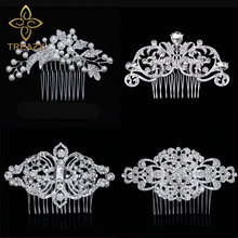 TREAZY European Designs Floral Wedding Hair Accessories Simulated Pearl Crystal Flower Bridal Hair Combs Wedding Hair Jewelry(China)