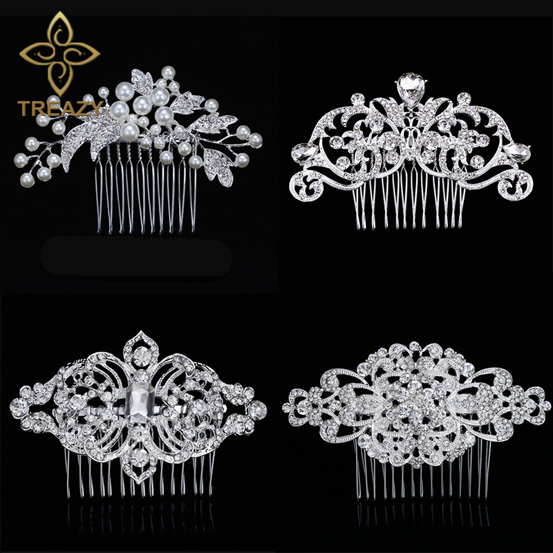 TREAZY European Designs Floral Wedding Hair Accessories Simulated Pearl Crystal Flower Bridal Hair Combs Wedding Hair Jewelry