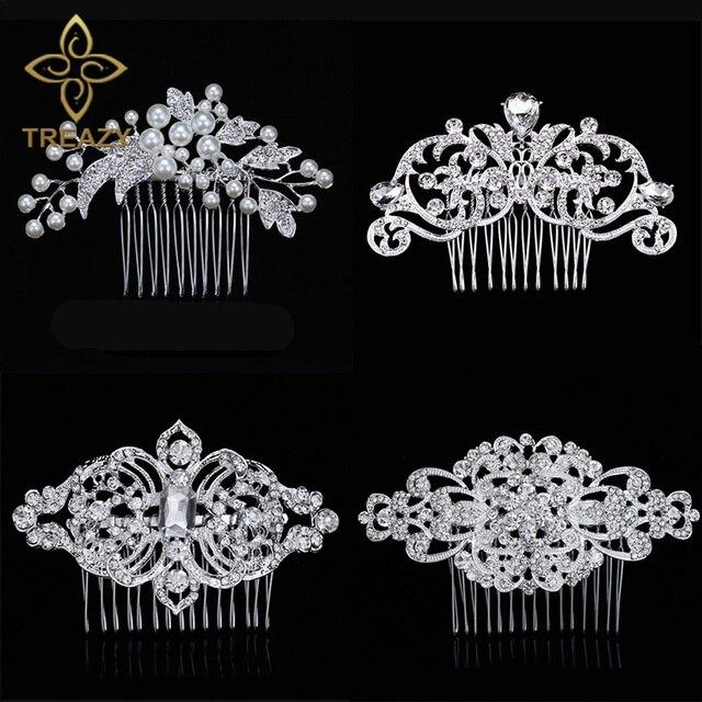 TREAZY European Designs Floral Wedding Hair Accessories Simulated Pearl Crystal