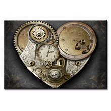 Framed Gear clock series poster Wall Art Oil Painting On Canvas Printed Pictures Decor painting large living room