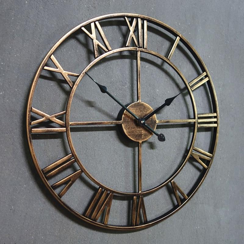 L253-KAYIYO 3D Iron Decorative Wall Clock Retro Big Art Gear Roman Numerals Design The Clock On The Wall (7)
