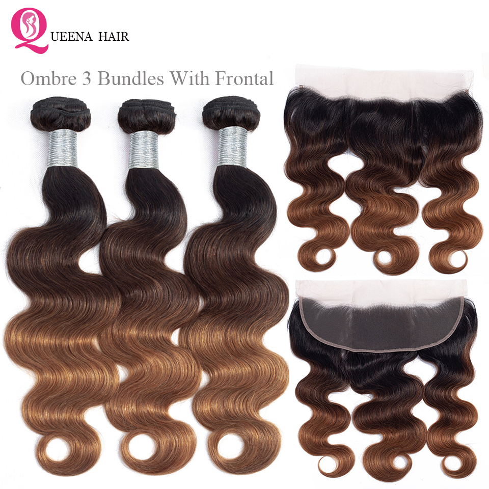 Queena 1b/4/30 Three Tone Color Ombre Bundles With Frontal Closure Brazilian Hair Weave Body Wave Bundles With Frontal Closure