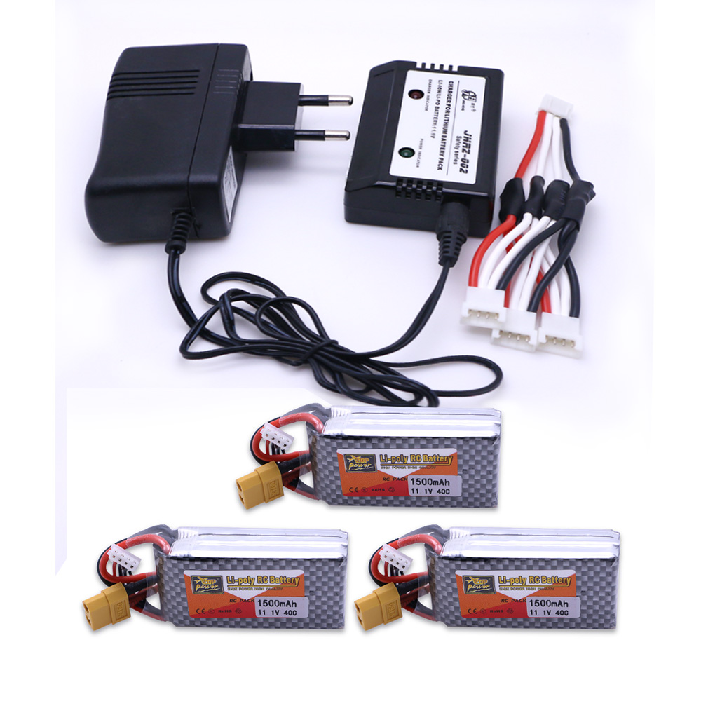 3pcs LiPo Battery 11.1V 1500Mah 3S 40C MAX 60C XT60/T Plug With 1in3 Cable charger Set F ...