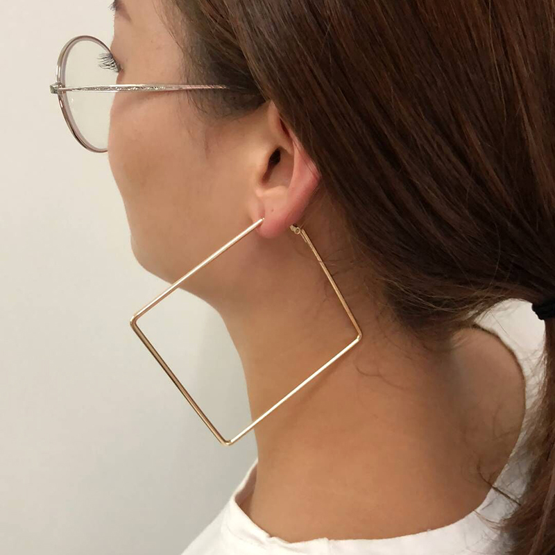 Fashion 3Pairs/Lot Punk Hollow Square Stud Earrings Sets For Women Gold Color Personality Geometry Alloy 3 Size