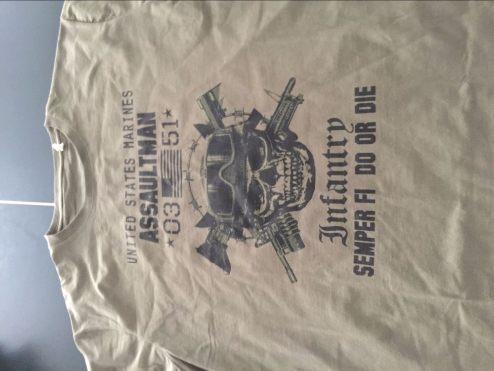 US Marines Infantry Assaultman T shirt men MOS 0351 USMC army short - marines infantry assaultman