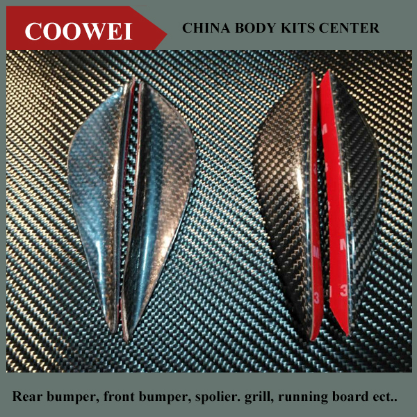 New 4pcs\/set Front Bumper Canards Universal Real Carbon Fiber Car Accessories Car Styling-in Car