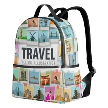 Qokr женские рюкзаки для девочек-подростков спортивные летние каникулы Печать на холсте сумки книгу Школа плечо дорожные сумки молодой леди