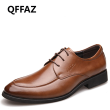 QFFAZ New Genuine Leather Men Dress Shoes High Quality Oxford Shoes For Men Lace-Up Business Men Shoes Brand Men Wedding Shoes
