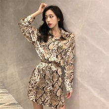 NiceMix 2019 Women New Sexy blouse Retro Snake  Leopard Print Mid-length Temperament Long Sleeve High Waist Loose Dresses
