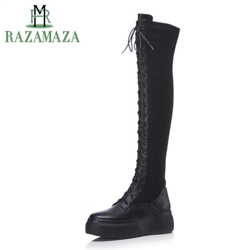 c019d3671ae1 Krazing Pot new cow leather keep warm Winter streetwear rock punk med heels  round toe wedges ...