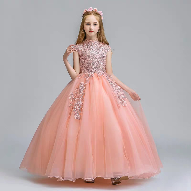 5~13Years Girls Children Fashion Birthday Evening Party Princess Tulle Long Dress Kids Teens Host Piano Pageant Ball Gown Dress
