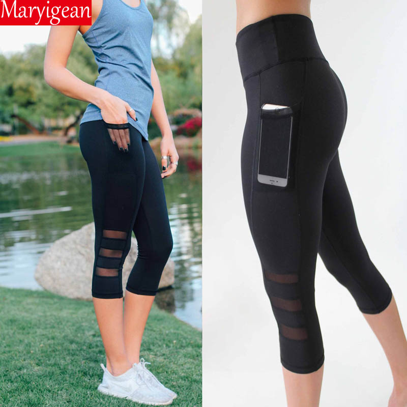 Maryigean Women Legging Patchwork Mesh Black Capri Leggings Plus Size Sexy Fitness Sporting Pants with Pocket Mid-Calf Trousers