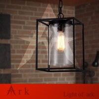 Ковчег свет Бесплатная доставка Винтаж Крытый открытый подвесной светильник американский черный гладить прозрачное стекло подвесной свет