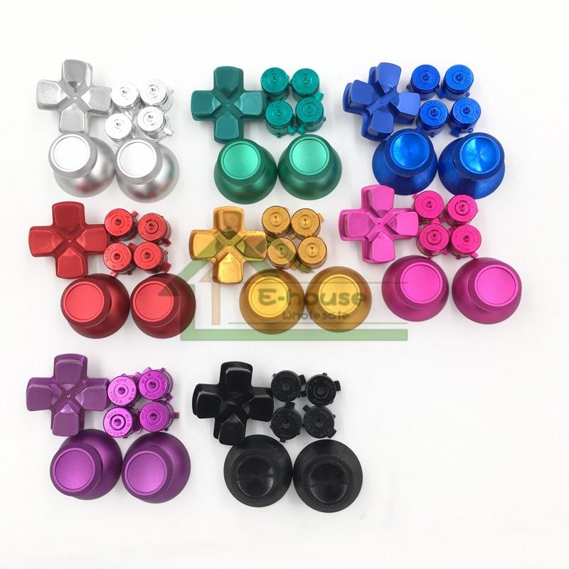 10 set Douane Aluminium Knoppen Mod Kit Metalen Dpad Knop + Joystick Cap + Bullet Knoppen voor PS4 Controller Dualshock 4-in Vervangende onderdelen en toebehoren van Consumentenelektronica op  Groep 1