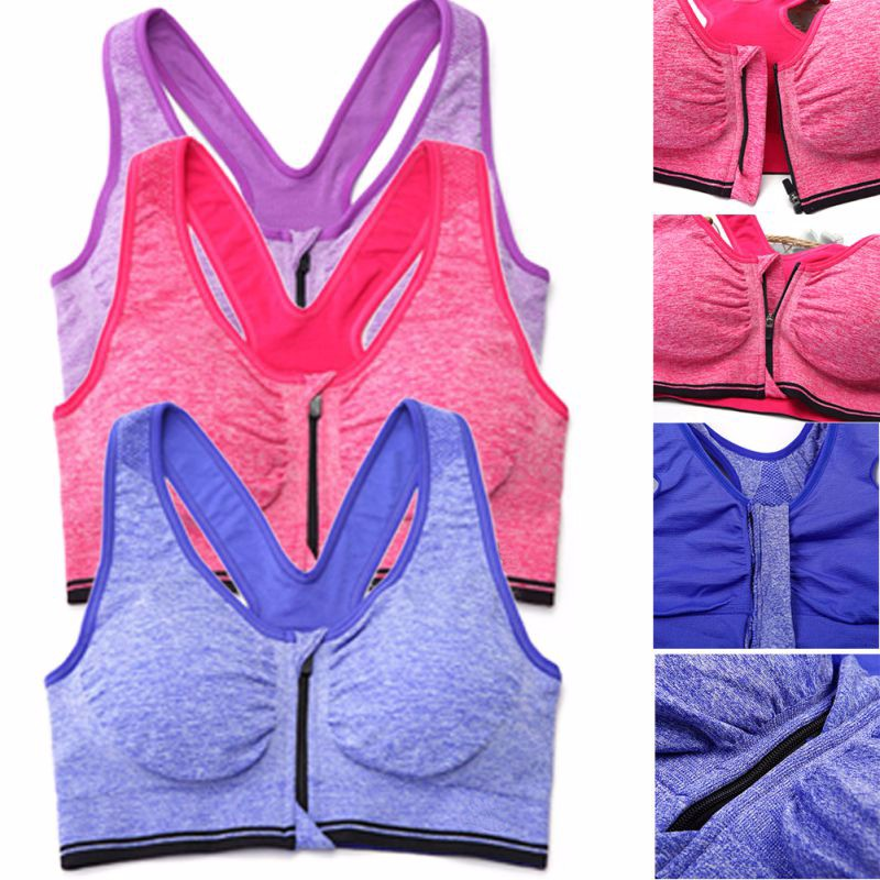 Sexy Women Sport Bra Yoga Top Running Gym Workout Wire Free Front Zipper Fitness Shirt Woman Yoga Vest Sports Bras 4