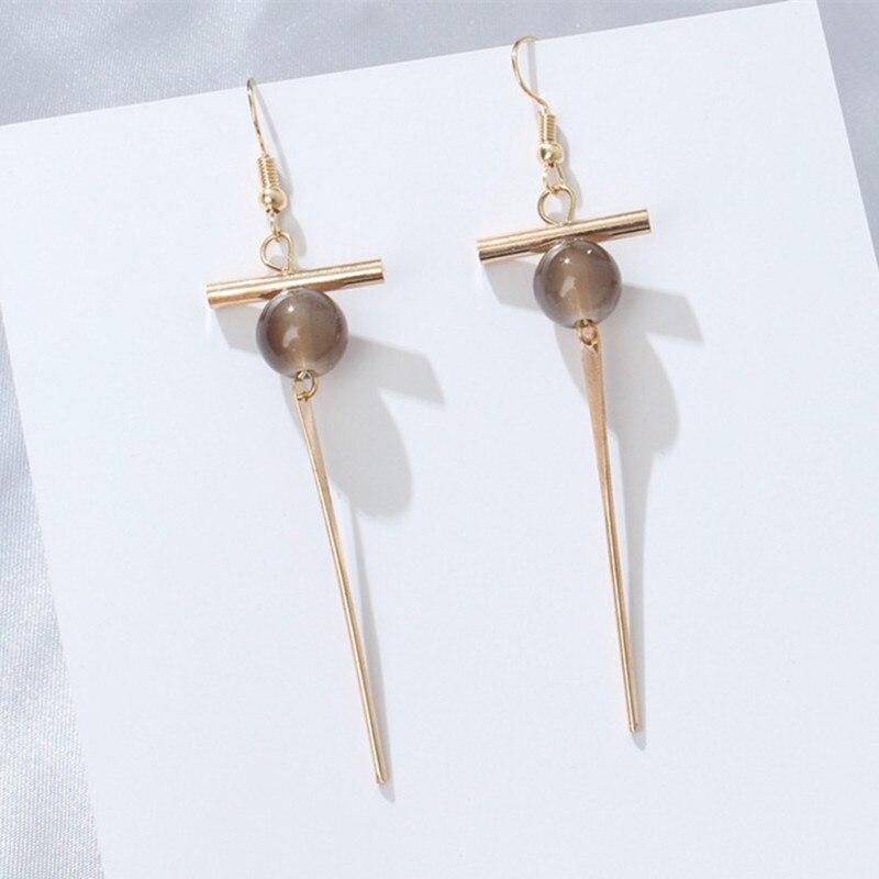 2018 New Arrival Simple Vintage Round Beads Earrings for Woman Metal Word Cross Long Earring Wholesale Jewellery Bijoux Gifts