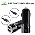 Universal 4.8A Dual Car Charger Mini Double Port USB Fast Charging With Micro Lighting Cable for iPhone Samsung Android Tablet