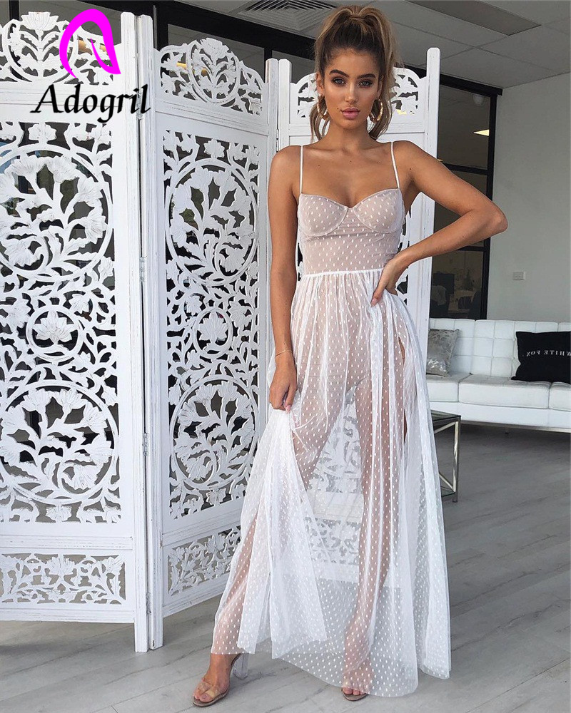 White Dress Women Spaghetti Strap Transparent Mesh Gown High Split dress Elegant Women Summer Sun Dresses club party dress robe