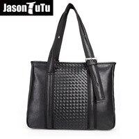 Men's Top-Handle Bags Briefcase Business leather man bag fashion laptop handbag Knitting OL office male Tote bag JASON TUTU B506